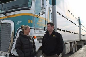 The real deal .... Gore Kids Hub Charitable Trust member Bronnie Grant talks to HRT manager Adam Waghorn about the business' sponsorship of a stock truck to be put in the kids hub playground.